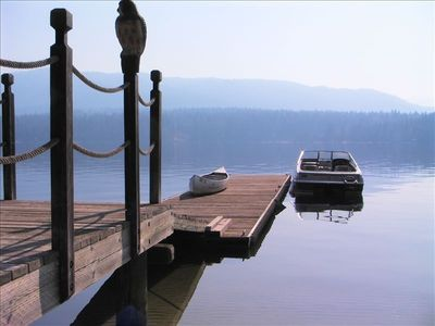 Lakefront Cabin McCall Rental - view from the water front of the private dock.