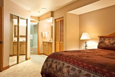 Master Bedroom Suite and Bath View. His and her closets, two vanity sinks.