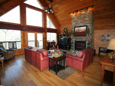 Photo for Lakeside Lodge, Luxury Lakehouse Log Cabin with Hot Tub overlooking the Lake