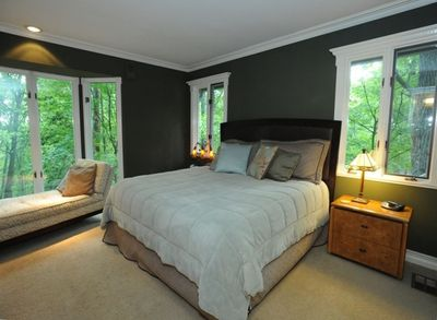 Master bedroom with king bed on main floor