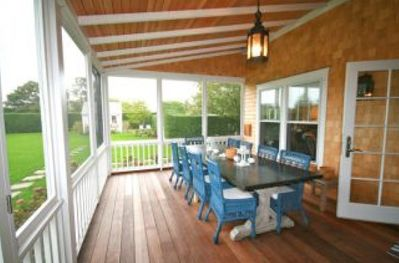 Dining area of screened in porch
