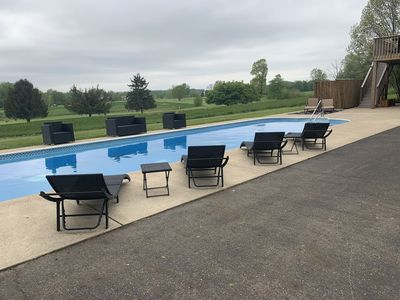 In ground pool is 54'X14' with plenty of poolside seating for everyone.