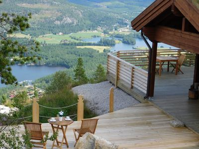 Photo for New cottage overlooking mountains and lakes, Wi-Fi, sauna, canoe, dog ok