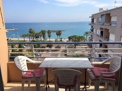 Photo for 2 beachfront rooms Cros de Cagnes, sea view, beach 50 m