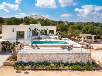 Photo for Luxury holiday villa-seaview-walking distance to Ostuni-saltwater private pool