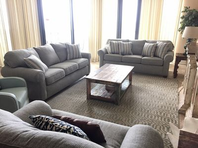 Spacious Living Room overlooking Gulf of Mexico.  Queen Sleeper Sofa