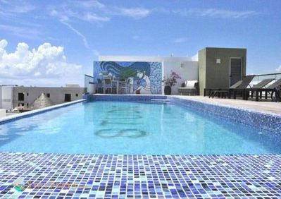 The beautiful roof top pool and terrace