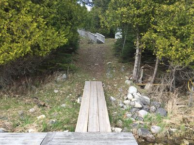 The path up to the home from our dock
