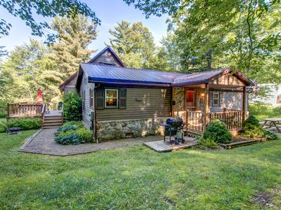 Photo for Homey getaway among the trees w/ bar, foosball table, hot tub, deck, & firepit