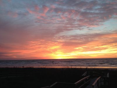 Beautiful sunrise over the Gulf of Mexico from the front porch of Aloha Beach.