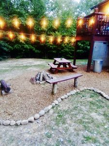 String lights allow for evening time outside with great atmosphere