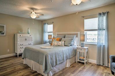 The interior boasts a bright and airy feel as well as tasteful decor.