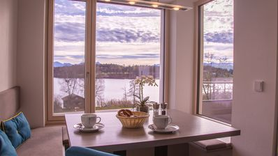 Photo for Directly on the lake, modern apartment Relaxx, new, mountain u. Sea view