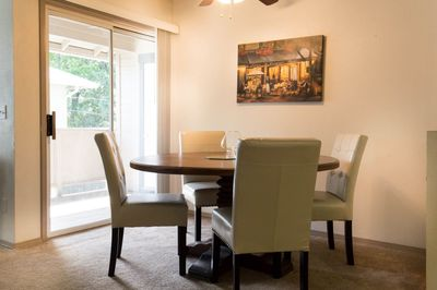 Comfortable dining are looking out onto private deck