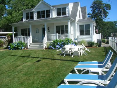 Front of house overlooking the lovely yard and Broad Cove
