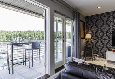 High top seating on the balcony for enhanced views of the ocean & marina.