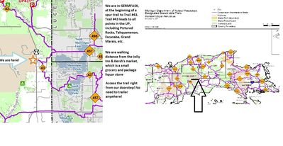 Snowmobile maps showing we link right into Trail#43