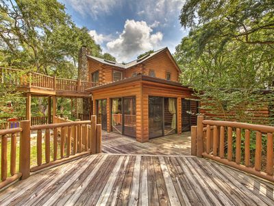 Photo for NEW! Quiet Inverness Log Cabin w/ Furnished Deck!