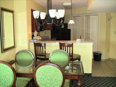 Dining table for up to 6 guests. Washer and Dryer just off of the kitchen.