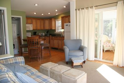 living room/kitchen. Granite countertops, fully appliance kitchen, washer/dryer
