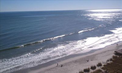 Beautiful Atlantic ocean & beach viewed from balcony.