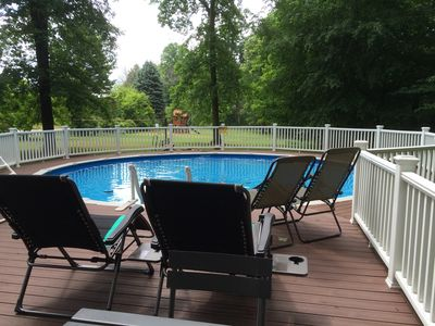 Photo for Wooded location, huge grassy yard, pool, fire pit, great for the entire family!