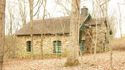 Charming stone garage one bedroom apartment.