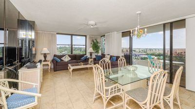 Photo for Anchorage Resort 8th floor condo in Siesta Key with private beach access, pool, boat dock!