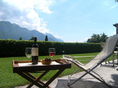 Relax, lunch time, garden, lake and mountain view
