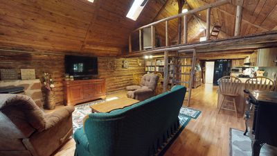 Photo for Authentic Western Log Cabin with Full kitchen, Baths & more!