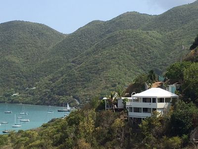 Coral Haven nestled on Sea Grape Hill with Coral Bay in the background