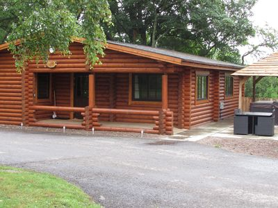 Photo for Luxury Real Log Cabin with Hot Tub, Felmoor Park, Northumberland