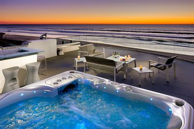 Enjoy amazing views from the roof top hot tub.
