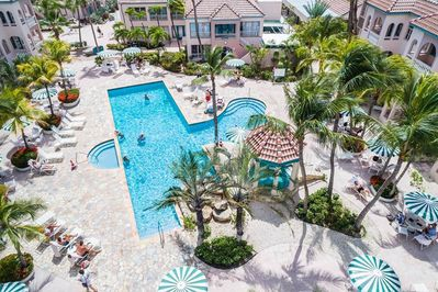 """Beautiful palms surround the """"Back Pool"""" and it's outdoor jacuzzi too!!"""