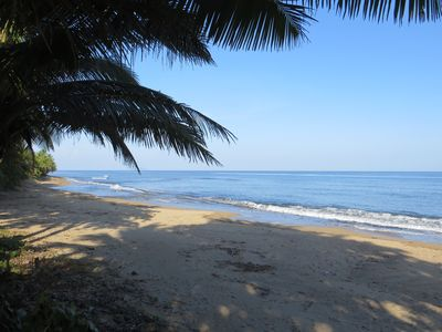 This is our beach right outside the villa with plenty of sun & natural shade