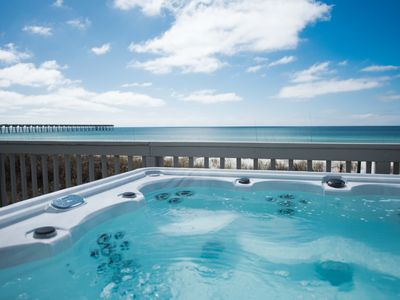 Photo for PRIVATE HOME ON BEACH. STEPS FROM PIER PARK. LUXURY HOT TUB