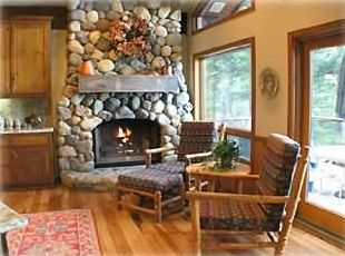 Fireplace in and seating area in kitchen