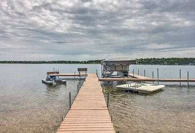 You'll find a water bike, 2-person canoe, dock and fire pit on the property!