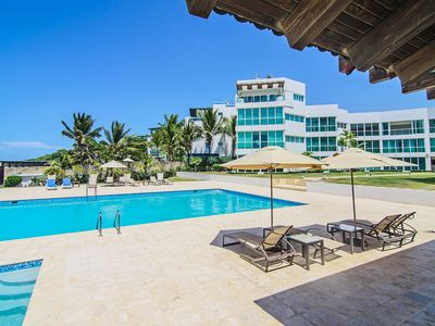Photo for Luxury 2BD apt. on private sandy beach, pool, wi-fi, cable TV
