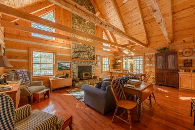 Martin's Nest Living Area with Wood-Burning Fireplace, TV