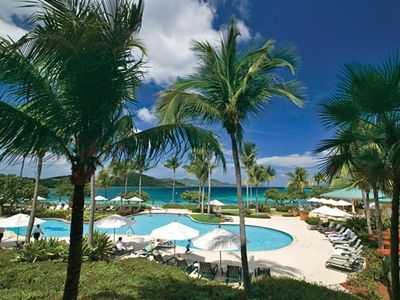 Pool overlooking Great Bay & St John, plus serenity pool and jacuzzi.