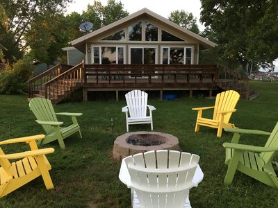Adorable family cabin on 540' level shoreline with great swimming and fishing.