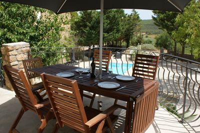 Large Terrace / Dining area with stunning views over vineyards and hills