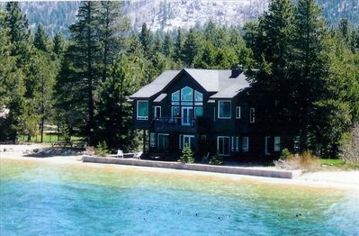 Just steps away from Lake Tahoe!  This photo in high water year!