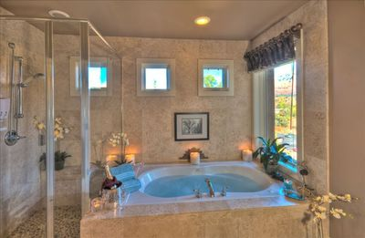 Bubble in Your Two Person Whirlpool With Adjacent Glass Shower & Views