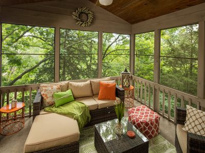 Photo for THE BIRDS NEST ~ Outdoor Hot Tub, Fire Pit, Screened Porch, Wooded Views!