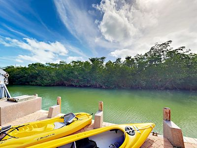 Photo for Relaxing Waterfront Home w/ Private Dock, Wraparound Balcony, Kayaks, & Bikes