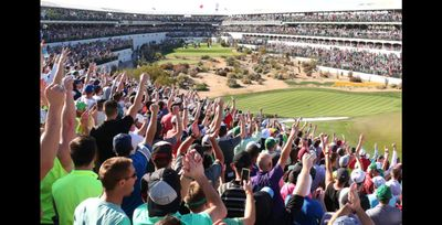 The famous 16th hole at the Waste Management Phoenix Open .