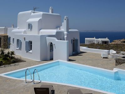 Photo for Krystalo, in Choulakia area, in Mykonos, with swimming pool, sea view, 12 sleeps