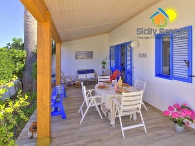 Photo for Cosy villa few steps away from the beach and the centre, among fields & valleys